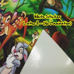 MONE GLOSSY White Sticker INDOOR - 1200DPI (Latex II Ink) - With Lamination (Non Light Box)