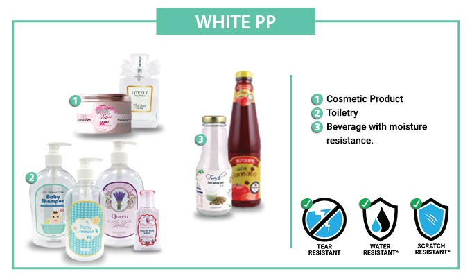 OPP White Label Sticker  [WATERPROOF] - 70mm X 110MM - 100pcs / set