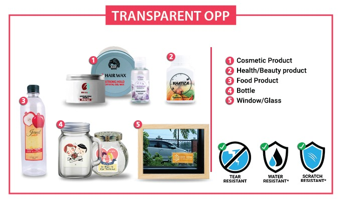 OPP Clear Label Sticker  [WATERPROOF] - 70mm X 110MM - 100pcs / set