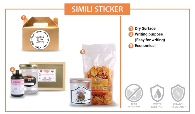 Simili Label Sticker [ NON - WATERPROOF]  - 50mm X 60MM - 100pcs / set