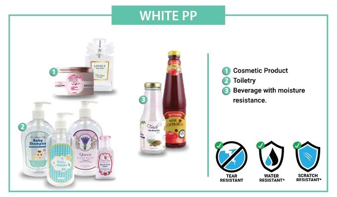 OPP White Label Sticker  [WATERPROOF] - 50mm X 70MM - 100pcs / set