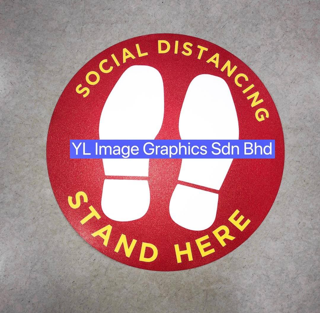 SOCIAL DISTANCING CIRCLE Floor Graphic Sticker (With Floor Graphic Matt Lamination) - 1200DPI (Latex II Ink)  12INS Diameter